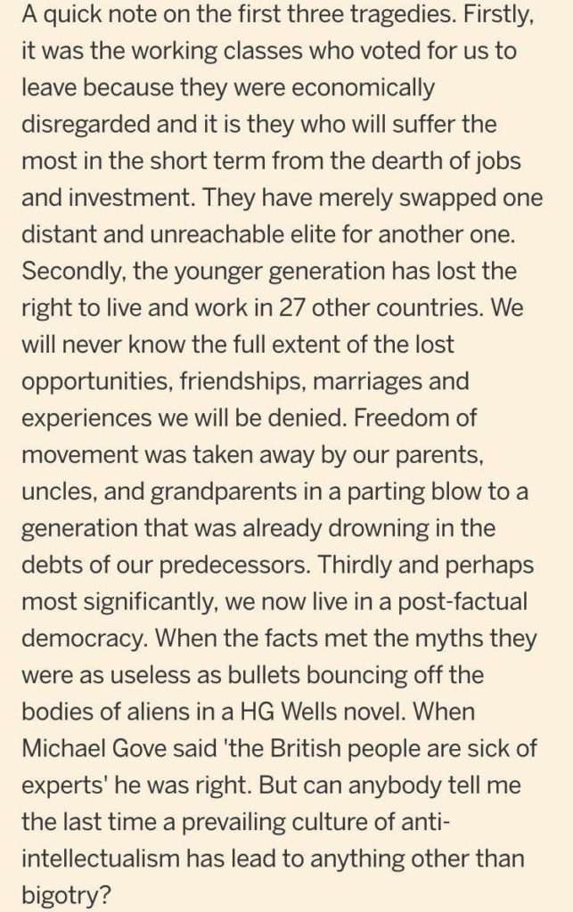 FT comment on Brexit