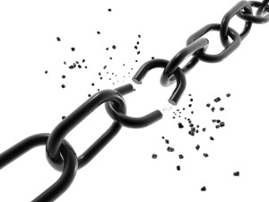 A computer generated image of a chain with a broken link.